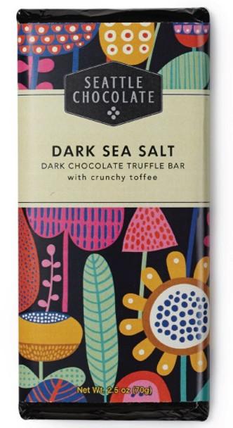SEATTLE CHOCOLATE DARK SEA SALT & TOFFEE BAR 70g