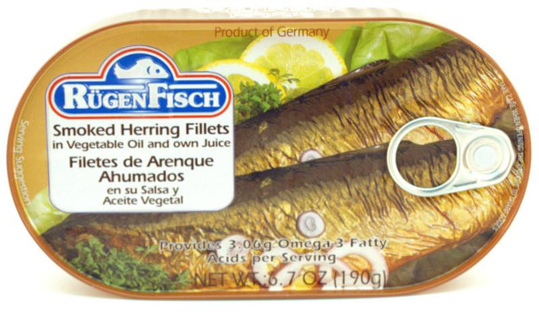 RUGENFISCH SMOKED HERRING FILLETS OWN JUICE190g