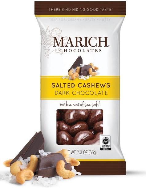 MARICH DARK CHOCOLATE SEA SALT CASHEWS 65g