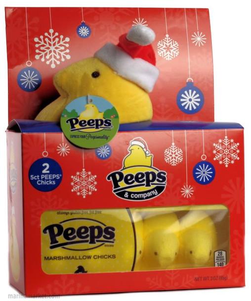 PLUSH PEEP SANTA WITH 2pks PEEPS