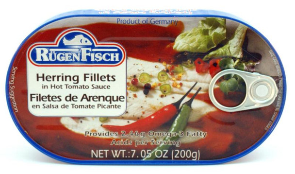 RUGENFISCH HERRING IN HOT TOMATO SAUCE 200g