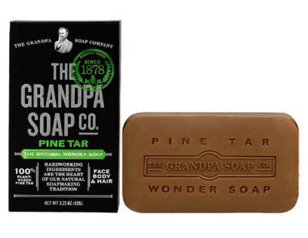 GRANDPA SOAP PINE TAR SOAP: GRANDPA SOAP PINE TAR SOAP Ideal for showering, shampooing and facial grooming, this 3-in-1 wonder is made with natural pine tar oil to deeply cleanse, deodorize and moisturize from head to toe!  INGREDIENTS:  Sodium Palmate, Sodium Cocoate / Sodium Palm Kernelate, Water (Aqua), Glycerin, Pinus Palustris Wood Tar, Sodium Chloride, Sodium Gluconate.