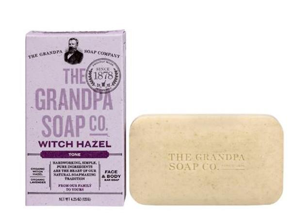 GRANDPA WITCH HAZEL SOAP: The astringent property of organic witch hazel is enhanced by relaxing lavender in a mild formula that gently tones and rejuvenates!  INGREDIENTS:  Sodium Palmate, Sodium Cocoate/Sodium Palm Kernelate, Water (Aqua), Glycerin, Lavandula Intermedia Flower leaf stem oil, Hamamelis Virginiana (Witch Hazel) bark/twig extract, Lavandula Angustifolia (Lavender) Flower, Lavandula Hybrida Oil, Rosmarinus officinalis leaf, Sodium Chloride, Sodium Gluconate, Citric Acid.