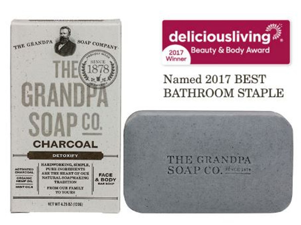 GRANDPA CHARCOAL SOAP: GRANDPA CHARCOAL SOAP Steam-activated charcoal, paired with vitamin-rich organic hemp and mint oils, draws out dirt and toxins to free up congested pores and restore clarity to oily and combination skin!  INGREDIENTS:  Sodium Palmate, Sodium Cocoate / Sodium Palm Kernelate, Water (Aqua), Glycerin, Mentha Arvensis Leaf Oil, Eucalyptus Globulus Leaf Oil, Mentha Piperita (Peppermint) Oil, Rosmarinus Officinalis (Rosemary) Leaf Oil, Mentha Viridis (Spearmint) Leaf Oil, Charcoal Powder, Carbon, Cannabis Sativa (Hemp) Seed Oil,  Sodium Chloride, Sodium Gluconate, Citric Acid.