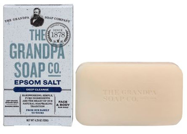 GRANDPA EPSOM SALT SOAP: Pure epsom salt and baking soda work double duty to remove even the most challenging dirt, grease and grime and leave skin feeling cleansed and soothed!  INGREDIENTS:  Sodium Palmate, Sodium Cocoate /Sodium Palm Kernelate, Water (Aqua), Glycerin, Magnesium Sulfate, Sodium Bicarbonate, Natural Fragrance (Parfum), Eucalyptus Globulus Leaf Oil, Citrus Auranitium Dulcis (Orange) Peel Oil, Mentha Viridis (Spearmint) Leaf Oil, Sodium Gluconate, Citric Acid, Sodium Chloride.