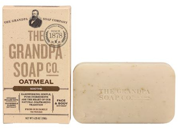 GRANDPA CORNMEAL SOAP: Soothing and smoothing organic rolled oats and colloidal oatmeal along with calming chamomile flower extract gently exfoliate and soften skin to replenish its healthy glow!  INGREDIENTS:  Sodium Palmate, Sodium Cocoate /Sodium Palm Kernelate, Water (Aqua), Glycerin, Colloidal Oatmeal, Natural Fragrance (Parfum), Juniperus Virginiana Leaf Oil, Copaifera Reticulata Balsam Oil, Canarium Luzonicum Leaf Extract, Avena Sativa (Oat) Kernel Flour, Chamomilla Recutita (Matricaria) Flower Extract, Sodium Chloride, Sodium Gluconate, Citric Acid.