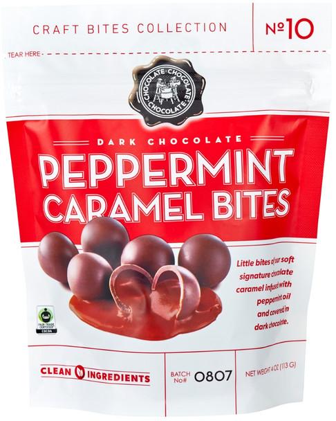 CHOCOLATE CHOCOLATE CHOCOLATE PEPPERMINT CARAMEL BITES