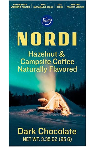 NORDI HAZELNUT & CAMPSITE COFFEE CHOCOLATE BAR