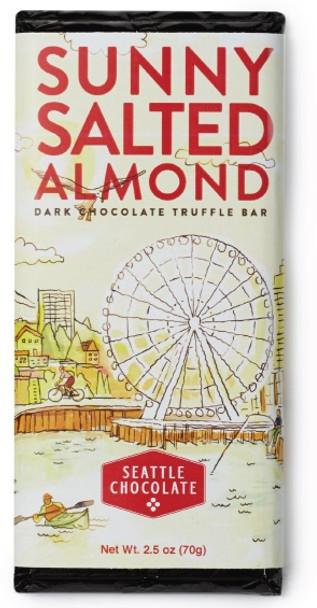 SEATTLE SUNNY SALTED ALMOND DARK CHOCOLATE BAR