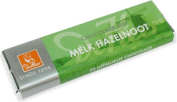 DE HEER MILK CHOCOLATE AND HAZELNUT BAR