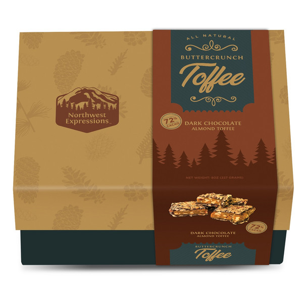 NORTHWEST EXPRESSIONS BUTTERCRUNCH DARK CHOCOLATE ALMOND TOFFEE GIFT BOX 8oz