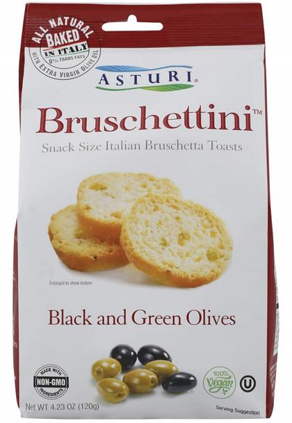 ASTURI BRUSCHETTINI BLACK AND GREEN OLIVES TOASTS 120g