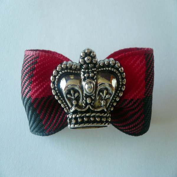 HRH Crown on Black & Red Plaid Bow