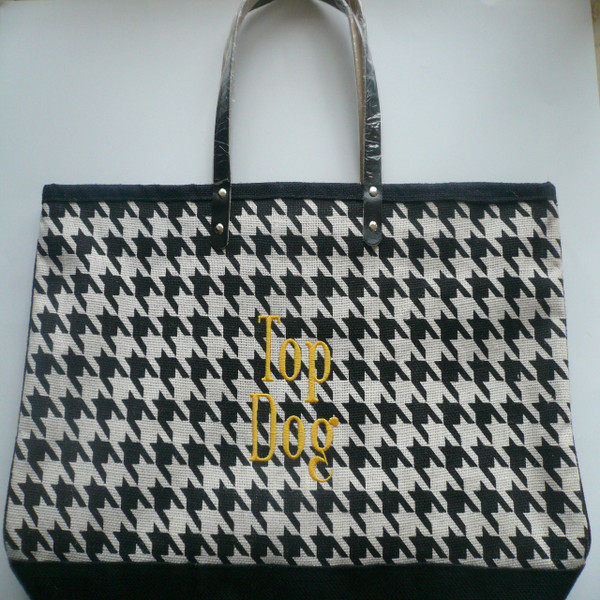 Houndstooth Monogrammed Jute Bag
