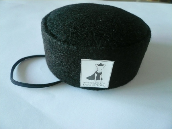 America's Top Dog Model  Black Felt Signature Pillbox Hat
