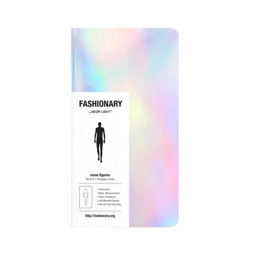 Fashionary Mini Neon Light Mens Sketchbook A6 (Set of 3)