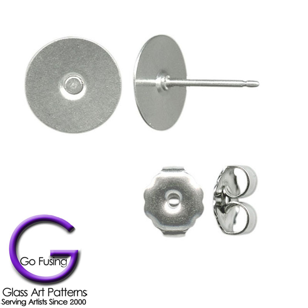 10.4mm Long 48 Stainless Steel 10mm Earring Posts With or Without Backs