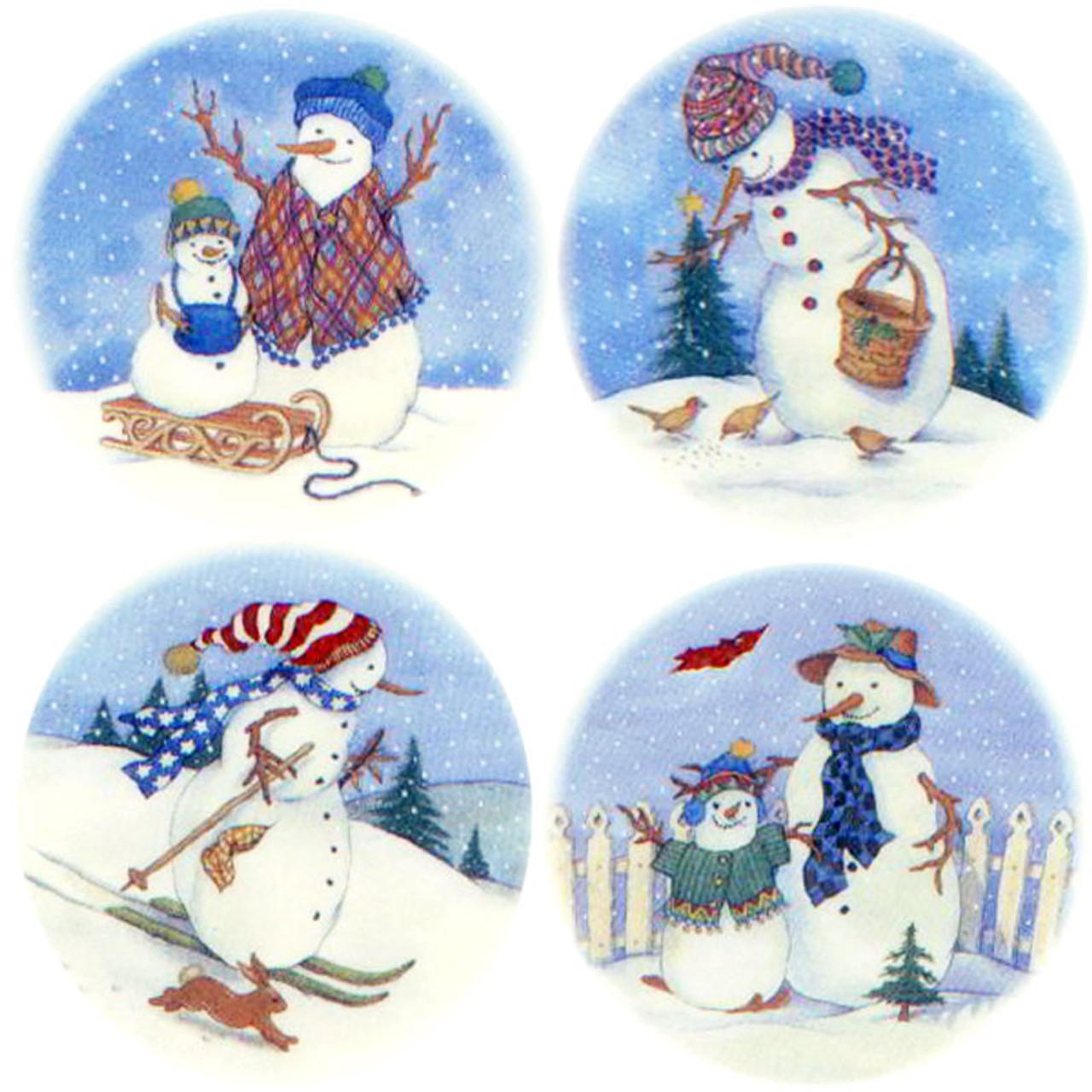 Glass Fusing Decal Snowmen Scenes 4 Circle Design Pack