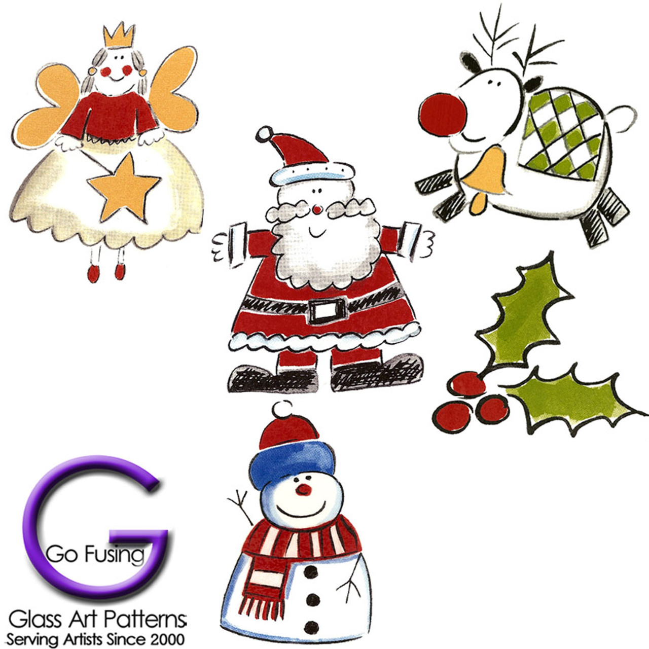 Christmas Whimsy Decal Fused Glass Or Ceramics