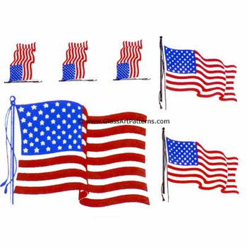 LOW to HI FIRE Colored: American Flag Decals II (Fused Glass Decal)