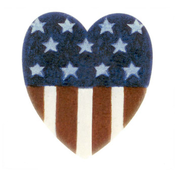 American Heart Fused Glass Decal or Ceramic Waterslide Decal