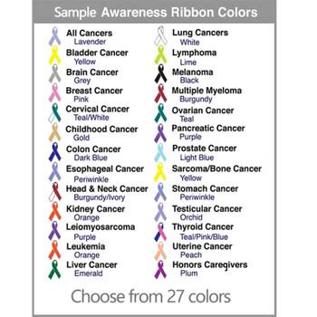 Awareness Ribbon colors representing many causes
