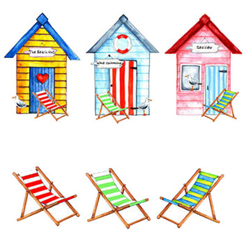 Beach Hut Chairs Fused Glass Decal Ceramic Waterslide Set