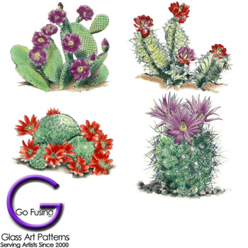 Cactus Fused Glass Decal or Ceramic Waterslide Decal Southwest Set