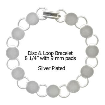 Bracelet Disc - Loop Sterling Silver Plated  8 1/4 inch