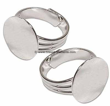 Adjustable Ring Blank, Sterling Silver Plated, Triple Line Pattern, 16 mm Pad (Qty 2)