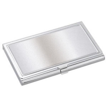 Business Card Case - Rectangle, Silver Tone with a recessed glue-on pad