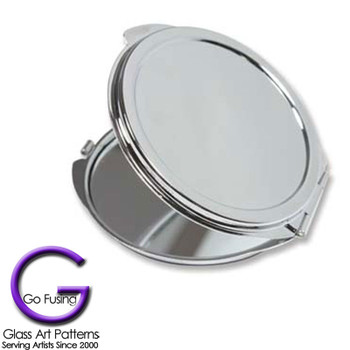 Compact: Make up Mirrors Silver Plated Glue on Pad