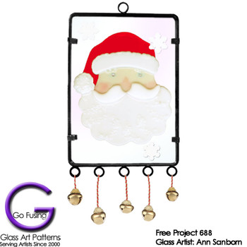 Santa Clause and jingle bells in a unique wind chime frame.  Perfect for Christmas!