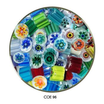 Millefiori Multi Color Sliced Flower Pattern Fusible COE96 1 oz, SKU 96437