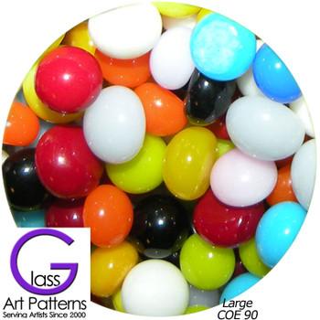 COE90 Fusible Glass Pebbles Multi-Color Opaque Mix