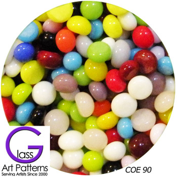 COE90 Glass Pebble Polka Dots - Multi-Mix Opal