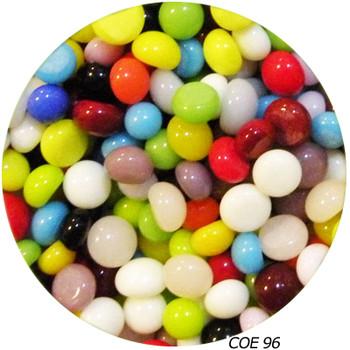 COE96 Glass Pebble Polka Dots - Multi-color Opaque SKU 96920-PS