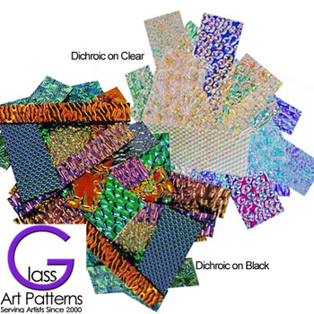 Dichroic Textured Scrap Glass 3 to 5mm thick - COE 90 - 1.5 ounces