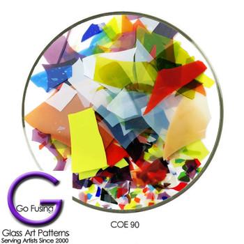 Bullseye Confetti Glass Mardi Gras Color Mix COE90