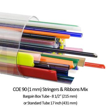 COE90 Bullseye Ribbon and Stringer Assortment Tube 2 sizes, Standard and Bargain Box