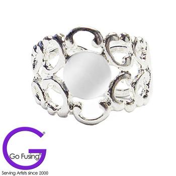 Adjustable Ring Blank Silver Plated Filigree Pattern Glue on Pad