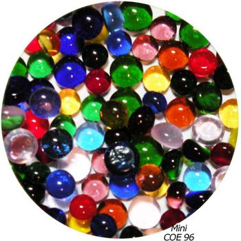 COE96 Glass Pebble Polka Dots - Multi Color Mix Transparent, SKU 96920-PST