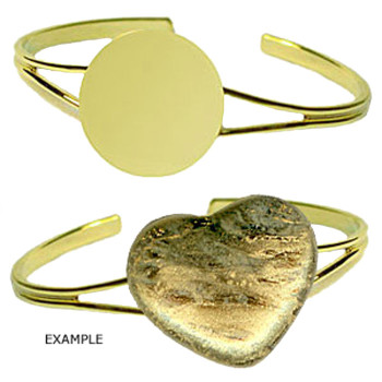 Adjustable Cuff Bracelet Gold Plated with Glue on Pad 2 sizes