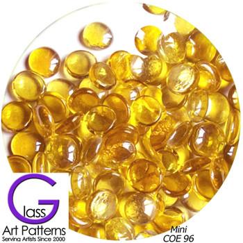 COE96 Glass Pebble Polka Dots - Amber Pale Transparent