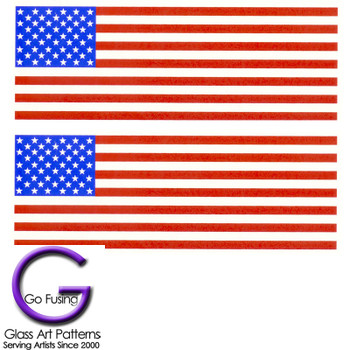 US American Flag Decals III. Used as a Fused Glass or Ceramic  Decal