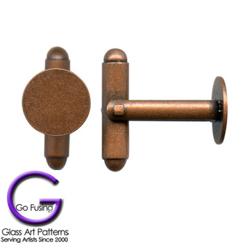 Secondary view of the antique copper plated cuff links.