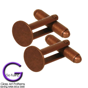 The highly durable antique copper plated cuff links with a glue on pad area are a great rustic look.