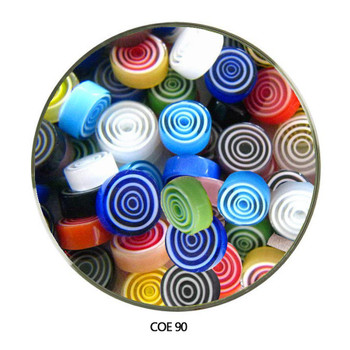 Murrini Multi Color Spiral Geometric Progression COE90 1 oz SKU 90460  View 2