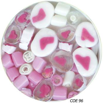Murrini Millefiori Sliced Pink Hearts Fusible COE96