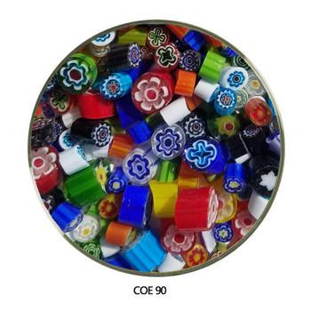 Millefiori Multi Color Sliced Flowers Fusible COE90 1 oz, SKU 90457